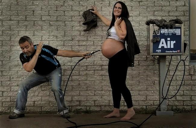 Смешные фотосессии беременных с мужьями 56