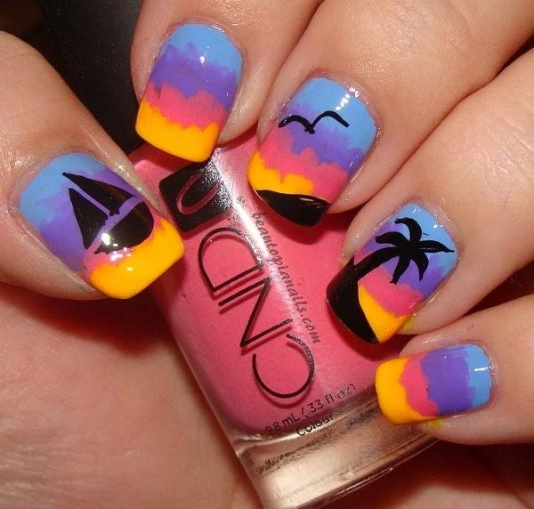 Рисунок на ногтях на лето